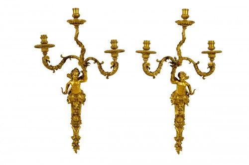 19th Century, Pair of French Three-light Gitl Bronze Sconces