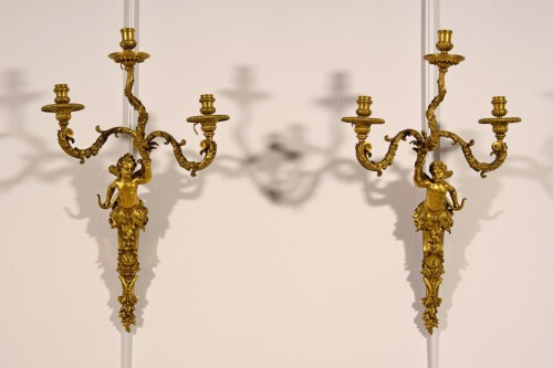 Lighting  - 19th Century, Pair of French Three-light Gitl Bronze Sconces