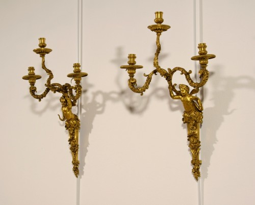 19th Century, Pair of French Three-light Gitl Bronze Sconces -