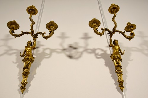 19th century - 19th Century, Pair of French Three-light Gitl Bronze Sconces