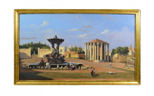 19th Century, Italian View Of The Forum Boario Of Rome With Vesta Temple