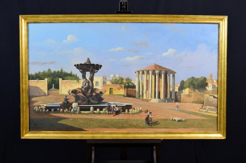 19th Century, Italian View Of The Forum Boario Of Rome With Vesta Temple - Paintings & Drawings Style