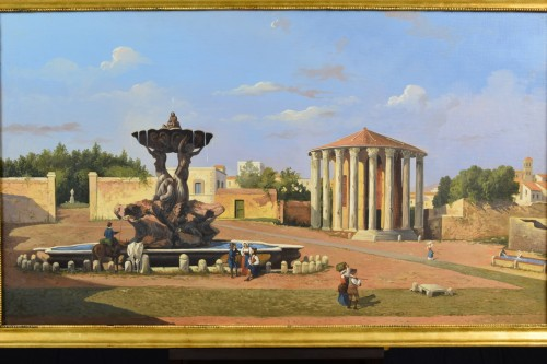 Paintings & Drawings  - 19th Century, Italian View Of The Forum Boario Of Rome With Vesta Temple