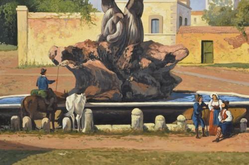 19th Century, Italian View Of The Forum Boario Of Rome With Vesta Temple -