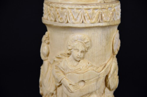 - Carved Ivory Element With Festive Scenes, 19th Century