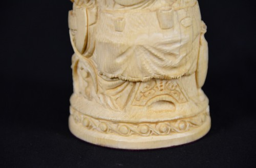 Antiquités - Carved Ivory Element With Festive Scenes, 19th Century