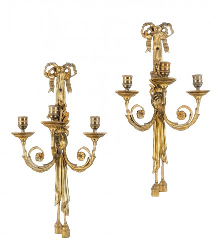 Pair Of Three-light Sconces In Gilded Bronze, France 19th Century