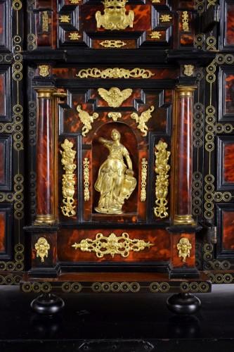 18th century - 18th Century, Louis XIV Wood Coin Cabinet With Gilded Bronze  And Turtle