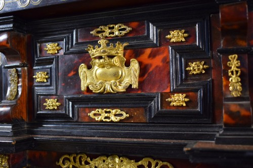 18th Century, Louis XIV Wood Coin Cabinet With Gilded Bronze  And Turtle -