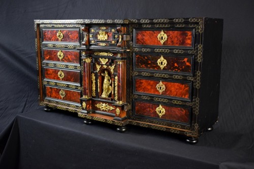 Antiquités - 18th Century, Louis XIV Wood Coin Cabinet With Gilded Bronze  And Turtle