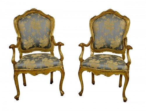 18th Century Pair Of venetian Giltwood Armchairs