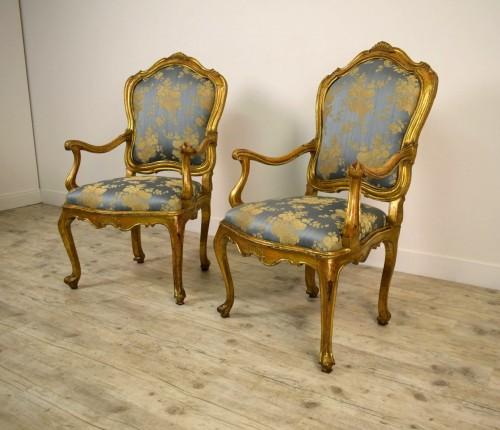 Seating  - 18th Century Pair Of venetian Giltwood Armchairs