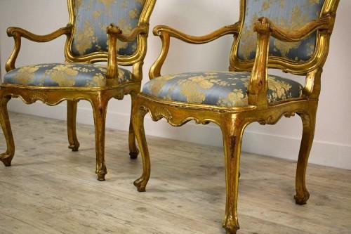 18th Century Pair Of venetian Giltwood Armchairs  -