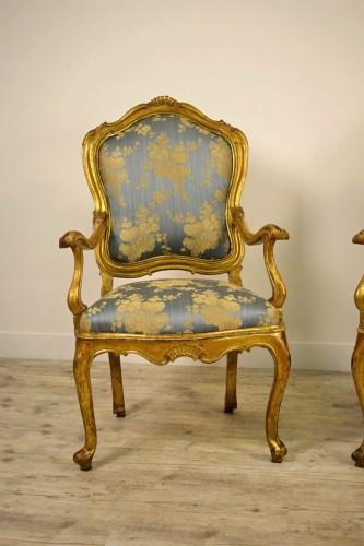 18th century - 18th Century Pair Of venetian Giltwood Armchairs