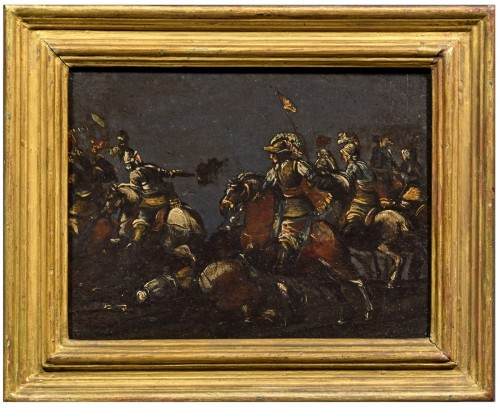 17th century, italian oil on slate paiting with A Cavalry Battle Scene