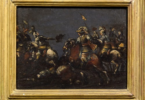 17th century, italian oil on slate paiting with A Cavalry Battle Scene  - Paintings & Drawings Style