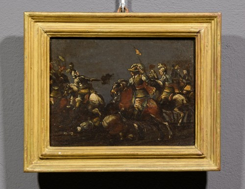 Paintings & Drawings  - 17th century, italian oil on slate paiting with A Cavalry Battle Scene