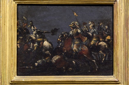 17th century - 17th century, italian oil on slate paiting with A Cavalry Battle Scene