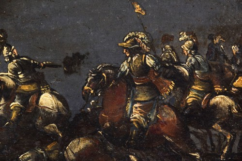 17th century, italian oil on slate paiting with A Cavalry Battle Scene  -