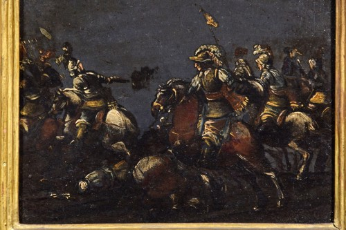- 17th century, italian oil on slate paiting with A Cavalry Battle Scene
