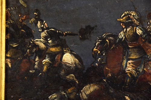 Antiquités - 17th century, italian oil on slate paiting with A Cavalry Battle Scene