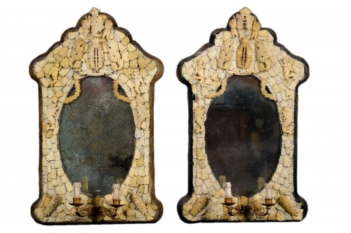 Pair of rare carved ivory mirrors, France, Dieppe manufacture, 19th century