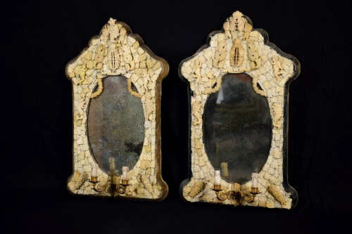 Pair of rare carved ivory mirrors, France, Dieppe manufacture, 19th century - Mirrors, Trumeau Style