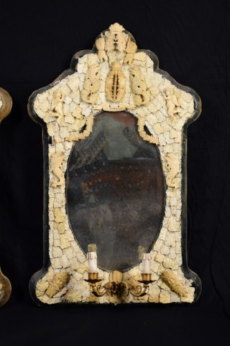 Mirrors, Trumeau  - Pair of rare carved ivory mirrors, France, Dieppe manufacture, 19th century