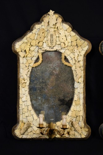 19th century - Pair of rare carved ivory mirrors, France, Dieppe manufacture, 19th century