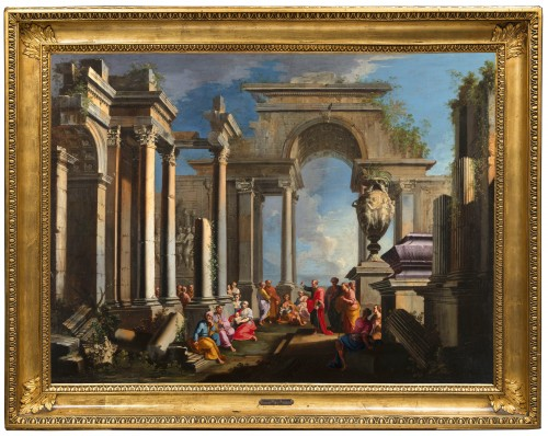 Architectural capriccio with the preaching of Saint Paul - Alberto Carlieri (1672-1720)