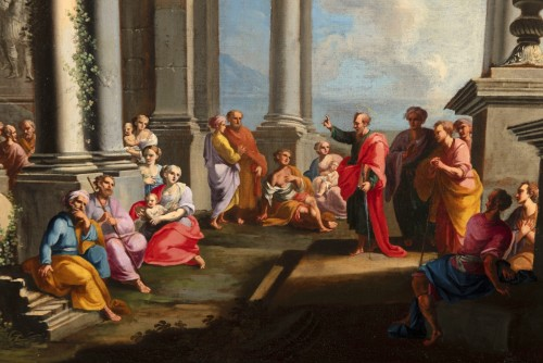Architectural capriccio with the preaching of Saint Paul - Alberto Carlieri (1672-1720) - Paintings & Drawings Style