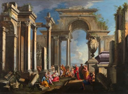 Paintings & Drawings  - Architectural capriccio with the preaching of Saint Paul - Alberto Carlieri (1672-1720)