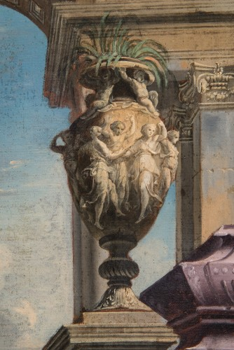 Architectural capriccio with the preaching of Saint Paul - Alberto Carlieri (1672-1720) -