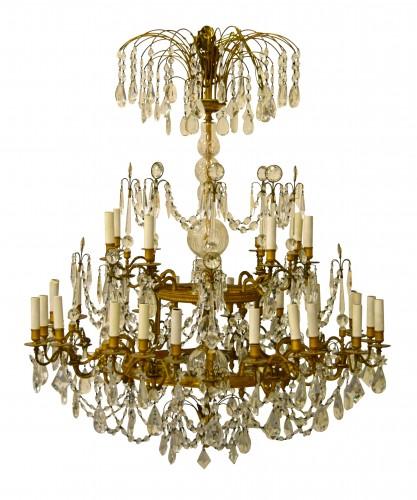 20th century, Gilt Bronze Crystal Louis XVI Style Chandelier  - Lighting Style