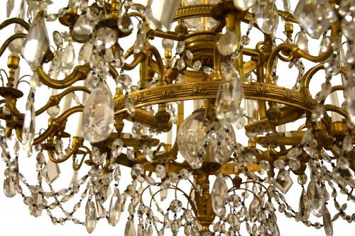 20th century - 20th century, Gilt Bronze Crystal Louis XVI Style Chandelier
