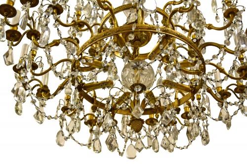 20th century, Gilt Bronze Crystal Louis XVI Style Chandelier  -