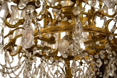 Antiquités - 20th century, Gilt Bronze Crystal Louis XVI Style Chandelier