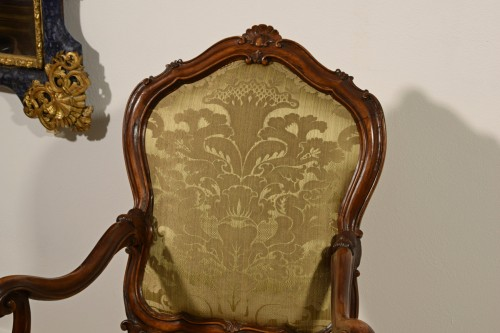 Pair of carved wooden armchairs, Italy, 18th century, Louis XV - Louis XV