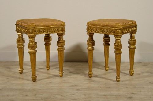 18th Century Pair of Italian Neoclassical Gilt Wood stools  - Seating Style Louis XVI