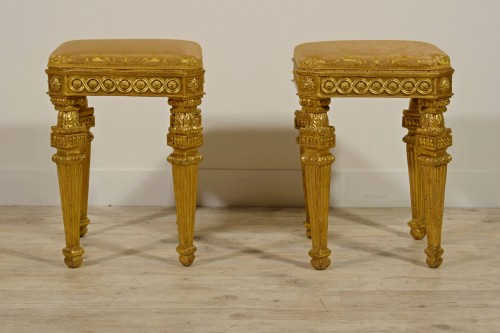 Seating  -  18th Century Pair of Italian Neoclassical Gilt Wood stools