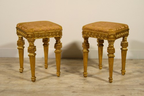 18th Century Pair of Italian Neoclassical Gilt Wood stools  -