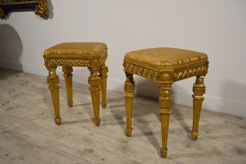 18th Century Pair of Italian Neoclassical Gilt Wood stools  - Louis XVI
