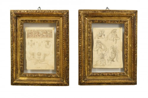 17th Century, Pair Of Ink Drawings On Paper With Studies For Grotesques