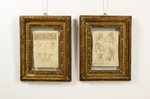 17th Century, Pair Of Ink Drawings On Paper With Studies For Grotesques - Paintings & Drawings Style