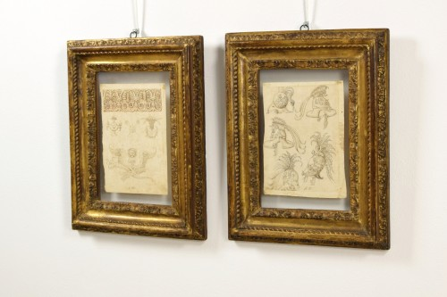 Paintings & Drawings  - 17th Century, Pair Of Ink Drawings On Paper With Studies For Grotesques