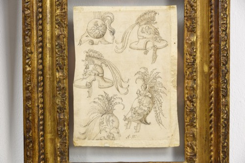 17th century - 17th Century, Pair Of Ink Drawings On Paper With Studies For Grotesques