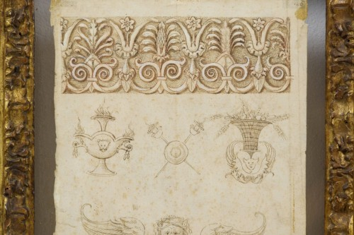 - 17th Century, Pair Of Ink Drawings On Paper With Studies For Grotesques