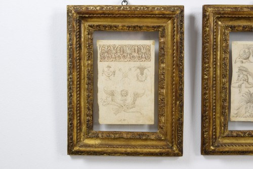 Antiquités - 17th Century, Pair Of Ink Drawings On Paper With Studies For Grotesques