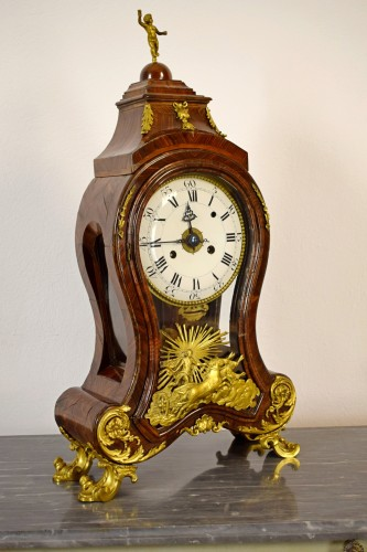 18th Century, Italian Wood and bronze Ringtone And Alarm Table Clock  -