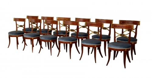 Twelve Neoclassical Lacquered Wood Chairs, Italy Early 19th Century